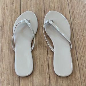 LOFT outlet nude flip flops